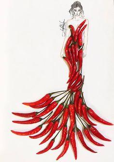 A dress illustration that is made of pure brown sugar! Arte Fashion, Fashion Collage, Fashion Design Drawings, Fashion Sketches, Fashion Illustration Dresses, Creative Artwork, Flower Fashion, Art Plastique, Designs To Draw