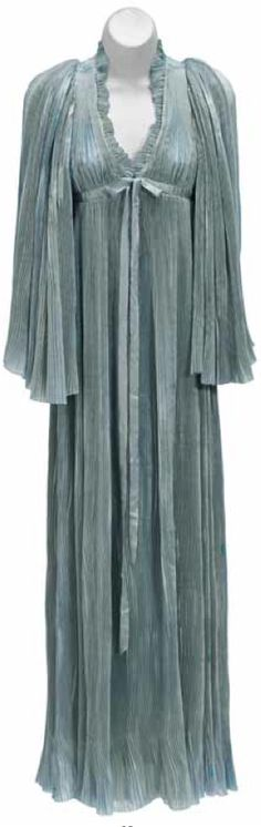 Vivien Leigh negligée from Gone With the Wind  Ankle-length pale blue accordion-pleated silk negligée with angel sleeves, hook-and-eye closure at the bodice with blue satin ribbon detail.