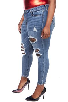 698461fa79 GENx Womens Plus Distressed Fishnet Wash Denim Skinny Pants Jeans AB75734P  14 Denim >>> Visit the image link more details. (It is Amazon affiliate  link) # ...