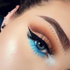 "I recreated the last look I posted from a little under a year ago... @anastasiabeverlyhills single shadows ""Deep Brown"" ""Burnt Orange Matte"" ""Fawn"" ""Fudge""  @jeffreestar / @jeffreestarcosmetics Velour Liquid Lipstick ""Jaw Breaker"" (waterline)  @maybelline eyeshadow palette (light blue & glitter)  @anastasiabeverlyhills dip brow ""taupe""  @amazingcosmetics_official brow powder ""brow 03"" & amazing concealer ""light honey""  @nyxcosmetics brow mascara ""brunette""  @wetnwildbeauty black mega liner…"