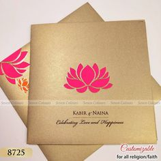 Magenta lotus design on grey gold card sheet looks so amazing. You fall in love at first sight. Muslim Wedding Cards, Indian Wedding Invitation Cards, Indian Wedding Cards, Wedding Invitation Envelopes, Fall Wedding Invitations, Invitation Card Design, Engagement Invitations, Invitation Wording, Invitation Ideas