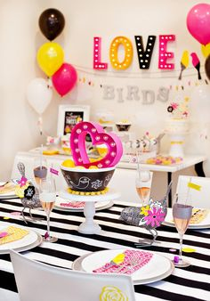 Modern Love Birds Bridal Shower - Pink Yellow Black White