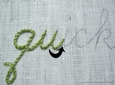 I ❤ embroidery . . . Hand Embroidery: Lettering and Text 4: Stem Stitch: Stem stitch is a beautiful rope-like hand embroidery stitch that works great for writing with a needle and thread. There are two real difficulties with stem stitch: stitch direction and curves. I'll try to eliminate both of those difficulties in this tutorial.