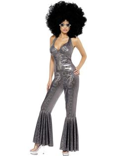 Smiffys Womens Disco Diva Costume Flared Jumpsuit 70 Disco Serious fun Size 68 32888 * Click picture to assess more details. (This is an affiliate link). Costume Halloween, Halloween Kostüm Plus Size, Jack Black, Fancy Dress Costumes For Women, Festivals, Afro, Sweaters And Leggings, Halloween Disfraces, Wonder Woman