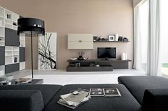 Living Room. Minimalist Design Of Living Room Decorating Ideas With Black Theme Furniture And Brown Wall: Kinds Of Living Room Design For Co...