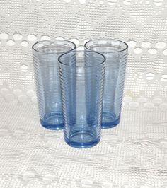 Vintage blue glass. Set of 3 blue drinking glasses. 250 ml