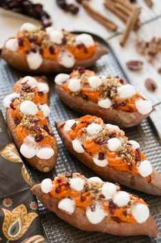 These loaded twice baked sweet potatoes are piled high with pecan brown sugar streusel, marshmallows and dried cranberries. You can prepare them in advance and then pop them in the oven right before y (Baking Sweet Casserole) Sweet Potato Dinner, Sweet Potato Recipes, Twice Baked Sweet Potatoes, Baked Potatoes, Stuffed Potatoes, Broccoli, The Best, Lush, Recipes