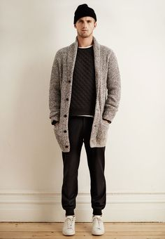 BELTED MARLED CARDIGAN, QUILTED CREWNECK SWEATSHIRT, SETH WOOL TROUSER, ZESPÀ LEATHER CHUKKA SNEAKER