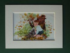 Original 1953 Print Of A Boy Gathering Firewood by PrimrosePrints