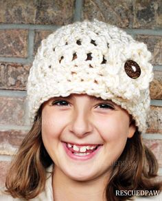 Free Crochet Chunky Flower Button Hat Pattern #fall #winter