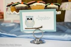 Owl-Baby-Shower-food tags with wooden branch