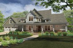 Country Style House Plans - 1953 Square Foot Home, 2 Story, 3 Bedroom and 3 3 Bath, 2 Garage Stalls by Monster House Plans - Plan 61-194
