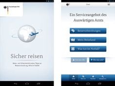 Mit dieser App kann man aktuelle Reisewarnungen im Internet abrufen.