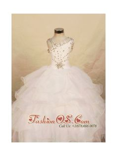 Beautiful White Ball gown Organza One Shoulder Floor-length Beading Little Girl Pageant Dresses  http://www.fashionos.com  http://www.facebook.com/quinceaneradress.fashionos.us  The unique designs of the one-shouder neckline with a double straps catched a gleaming touch of elegance.This looking is completed with a layered ball gown skirt.