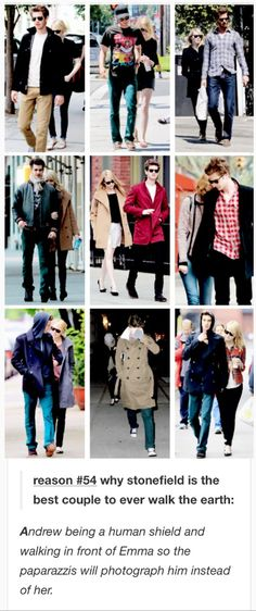 reason #54 why stonefield is the best couple to ever walk the earth: Andrew being a human shield and walking in front of Emma so the paparazzis will photograph him instead of her. emma stone andrew garfield stonefield i crY EVERY TIME reasons