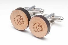 Beagle Wood Cufflinks Gift For Him, Wedding Gifts, Groomsman Gifts, and Personalized
