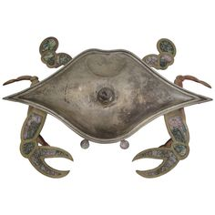 Los Castillo Silvered Brass and Abalone Inlay Crab Serving Tray with Lid | From a unique collection of antique and modern serving pieces at http://www.1stdibs.com/furniture/dining-entertaining/serving-pieces/