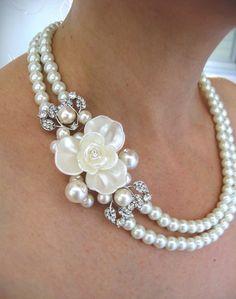Bridal Ivory Swarovski Pearls Necklace, Weddings  pearl necklace ,Bridal Necklace,pearl  Necklace, Vintage Style Bridal Jewelry