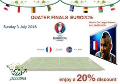 Iceland will be on a high after sensationally defeating England in Round of 16 UEFA Euro 2016 . Now they meet the host FRANCE in the quarter final who have won two major tournaments on home soil, in 1984 and 1998. Call 80010452, meet at Jedoudna Media City and watch the game on LARGE SCREEN along with your favorite Lebanese food and many other fans, game starts at 11pm. www.jedoudna.com #celebrateLeFootball #JedoudnaDMC #myDubai #uae