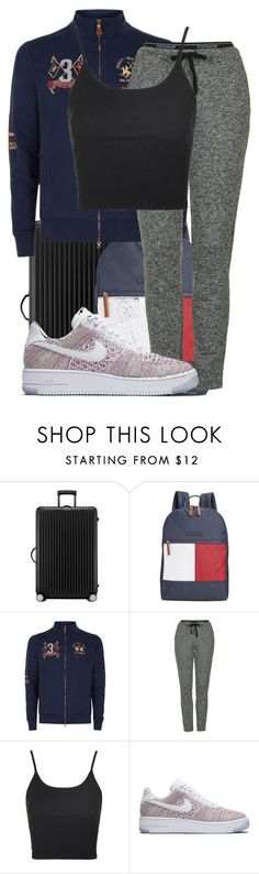 """""""Untitled #1519"""" by triskid ❤ liked on Polyvore featuring Rimowa, Tommy Hilfiger, LA MARTINA, Topshop and NIKE"""