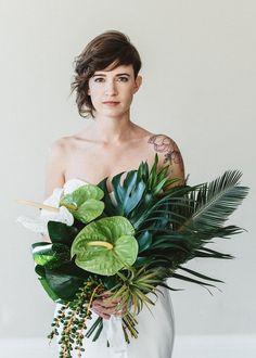 Tropical bridal bouquet...just my kind of bouquet for uber stylish avant garde destination wedding