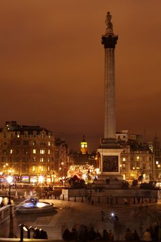 A view of night fall from London National Gallery looking to Trafalgar Square and Big Ben.