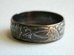 Wedding Ring Vintage Mens Wedding Band Vine and Leaf Design
