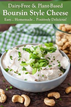 This Dairy-Free Boursin Recipe is Easy, Delicious, and Budget Friendly - plant-based, gluten-free, and made with simple ingredients Boursin Recipes, Cheese Recipes, Small Food Processor, Food Processor Recipes, Dairy Free Recipes, Healthy Recipes, Dairy Free Cheese, Gluten Free Grains, Vegan Cookbook