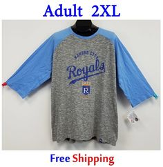 Kansas City Royals Two Tone Tee NWT XXL Raglan Sleeves Majestic MLB Heather Gray #Majestic #KansasCityRoyals