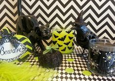 Escential Jar candles with fun Halloween sticker and stockings. Thanks, Angela S! #PartyLite #Halloween #DIY