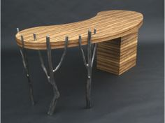 Furniture For Sale | Black Limba Desk with Steel Branch Legs | ArtsyHome