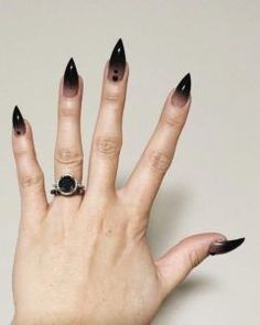 30 Black Nail Designs Pointy Black Ombre Nails The post 30 Black Nail Designs appeared first on Halloween Nails. Goth Nails, Witchy Nails, Grunge Nails, Goth Nail Art, Black Ombre Nails, Black Nail Art, White Nails, Black Stiletto Nails, Black Manicure