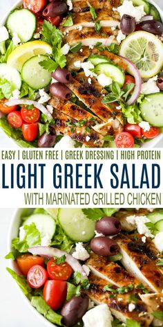 A simple Greek Salad filled kalamata olives, cucumbers, tomato and feta then topped with marinated grilled chicken and a homemade greek dressing. It's the perfect light easy dinner recipe for the summer. #healthy #mealprep #glutenfree Greek Salad Recipes, Summer Salad Recipes, Marinated Grilled Chicken, Grilled Chicken Recipes, Light Easy Dinner, Clean Eating Recipes, Healthy Recipes, Healthy Eats, Cooking Recipes