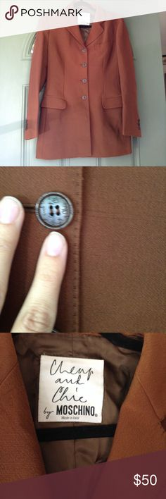 Moschino Cheap and Chic blazer jacket brown size 8 Vintage Moschino cheap & chic brown blazer in GUC. Buttons have cheap & chic logo as pictured Jackets & Coats Blazers