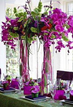 Flower Arrangement, orchids with bells of ireland:)