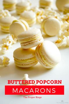Sweet, salty, buttery flavor packed into a macaron! Take your movie night to the next level with this recipe Baking Desserts, Desserts To Make, Cookie Desserts, No Bake Desserts, Cookie Recipes, Dessert Recipes, Macaron Filling, Macaron Flavors, Macaron Recipe
