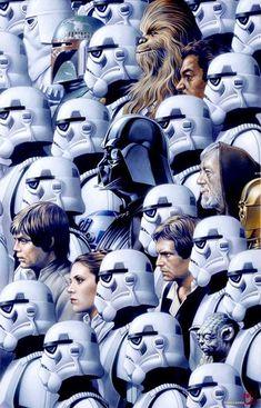 The troops of Star Wars : Chewie / StormTrooper / Obi-One / Luke Skywalker /Darth Vader / Bobba Fett / Han Solo Star Wars Film, Star Wars Poster, Star Wars Art, Star Trek, Geeks, Amour Star Wars, Cuadros Star Wars, Stormtrooper, Star Wars Personajes