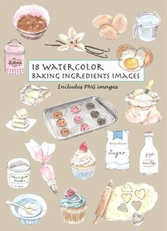 17 Ideas Baking Logo Ideas Products For 2019 Watercolor Cake, Watercolor Illustration, Baking Logo, Cake Logo Design, Kind Reminder, Art Aquarelle, Vintage Baking, Clip Art, Strawberry Desserts