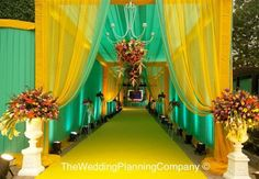 Spring wedding with candy like florals! - The Wedding Planning Company Pictures Wedding Walkway, Wedding Reception Entrance, Wedding Hall Decorations, Marriage Decoration, Wedding Mandap, Wedding Gate, Wedding Receptions, Wedding Poses, Wedding Themes