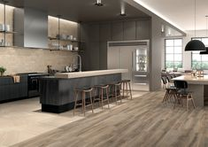 A wood effect kitchen inspired by the persone who live in there. Wood Effect Porcelain Tiles, Stone Tiles, Made In America, Modern Room, Kitchen Backsplash, Natural Wood, Kitchen Design, Ceramics, The Originals