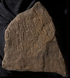 Runestone from Norway, ca. 400. Usually interpreted:  'IuthingaR. [Maybe: IuthingaR (lies here).]  I, WakraR, have learned  writing.'  Another suggestion is that WakraR says he 'took land', that is, settled down.    Runes are not a language, but the Old Germanic alphabet. Each sign represented a sound. Runes were developed around the birth of Christ, probably in Scandinavia. By 500 AD they were being used by Germanic peoples from the Black Sea in the south to Norway and England in the north.