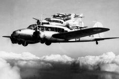 Flight of RAAF Avro Ansons 1938. Originally a bomber, then RAF Coastal Command maritime patrol and anti shipping aircraft, and finally aircrew trainer/conversion aircraft for multitude of trades/aircrew roles. Similar line of use in British Commonwealth Air Forces. Continued in use after WWII, some as target tugs.