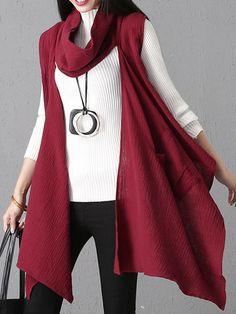 55aa87019 Gracila Casual Irregular High Collar Pure Color Women Vest Coats is hot  sale on Newchic,here women Coats & Jackets with unbelievable discounts  Mobile.