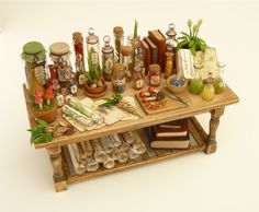 Witch potion table, Nikki Rowe on etsy