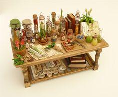 1\/12 Dolls House \/ Witch Wizard Botanical Potion Table \/ OOAK \/ Nikki