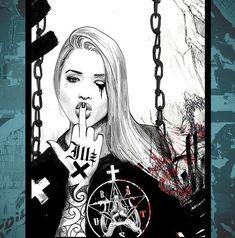 Miss Illicit Street art Arte Lowrider, Fille Gangsta, Gangster Girl, Arte Obscura, Ange Demon, Chicano Art, Dope Art, Urban Art, Female Art