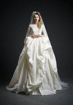 Wishesbridal Artistic High Neck Tulle Half Sleeve Ball Gown Wedding Dress Aes0004