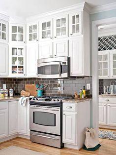Glass Kitchen Cabinets, Kitchen Cabinet Doors, Painting Kitchen Cabinets, Wall Cabinets, Corner Cabinets, White Cabinets, Farmhouse Cabinets, Storage Cabinets, Cupboards