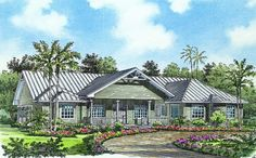 This gorgeous Florida style home with Mediterranean influences (Plan has over 3270 sq ft of living space. The one story floor plan includes 4 bedrooms. Florida House Plans, Coastal House Plans, Southern House Plans, Luxury House Plans, Coastal Homes, Modern Coastal, Coastal Farmhouse, Coastal Style, Coastal Decor