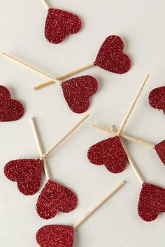 Glittered Heart Food Picks